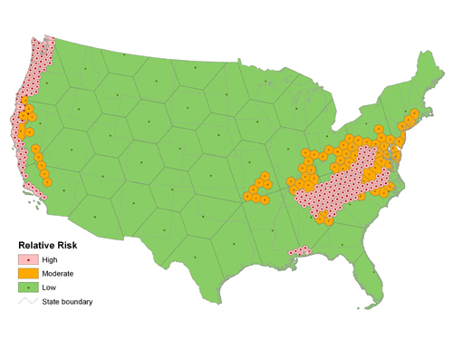 Modeling The Distribution And Spread Of P Ramorum Sudden Oak Death - Spread on a map us